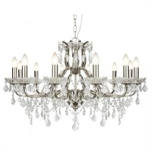 Satin Silver 12 Light Chandelier In Clear Crystal Drops