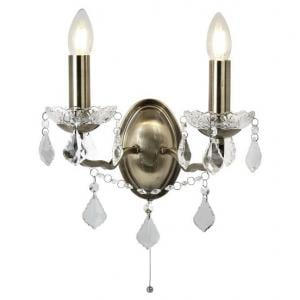 Double Light Wall Bracket In Clear Crystal Drops And Trim Antiqu
