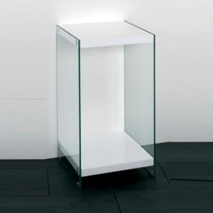 Olympic High Gloss Top Telephone Table With Glass Side Panels