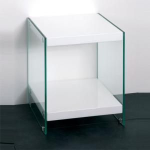 Olympic White High Gloss Top End Table With Glass Side Panels