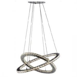 Clover Twin Ring Ceiling Pendant In Polished Chrome And Crystal