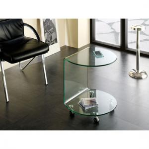Cologne Side Table In Clear Bent Glass With Wheels