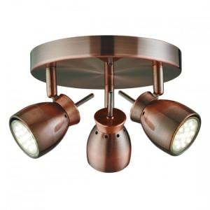Jupiter Antique Copper Three Light Ceiling Spotlight With Round