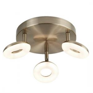 Stunning Three Light Donut Led Spot Light In Antique Brass
