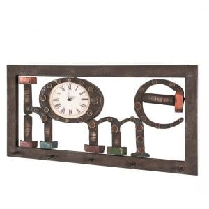 Marisa Wall Mount Coat Rack In Vintage With 5 Hooks And Clock