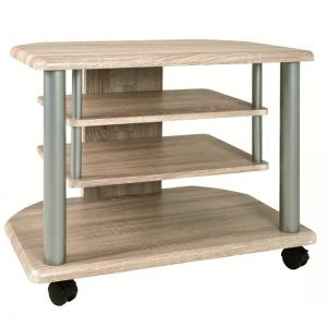 Spot Stylish Wooden LCD TV Stand In Light Oak With Wheels