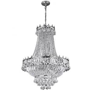 Versailles Chrome Nine Light Chandelier Trimmed With Crystal