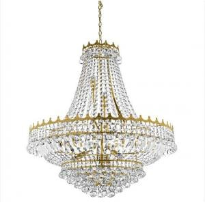 Versailles Gold 13 Light Chandelier Trimmed With Crystal