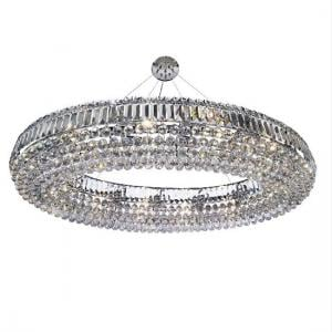 Vesvius Oval Ceiling In Chrome With Clear Coffins Trim And Ball