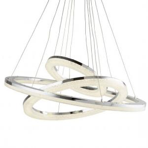 Stunning Chrome Led Three Ring Ceiling Pendant With Crushed Ice