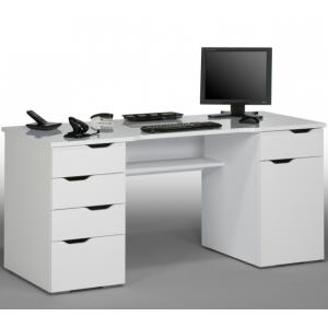 Mason Computer Work Station In White Wood And White High Gloss