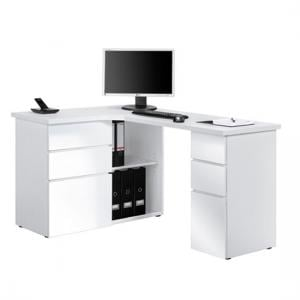 OxFord Ice White Finish Corner Computer Desk