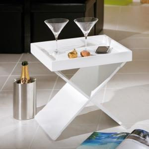 Moscow Side Table And Serving Tray In White