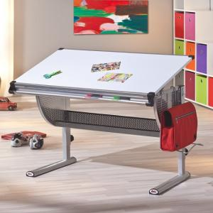 Ethan Children Computer Desk In White With Silver Grey Metal_3