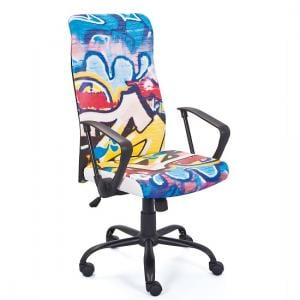 Tycoon Children Office Chair In Coloured PU Leather With Rollers_3