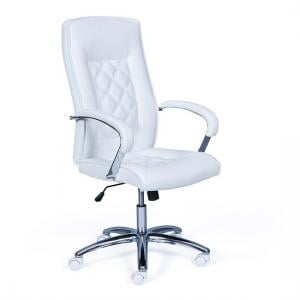Silesia Home Office Chair In White Faux Leather With Chrome Base