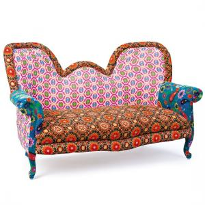 India Style Fabric Sofa Patchwork Style Multicoloured