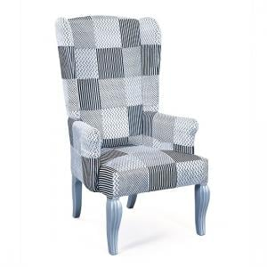 Hedon Wing Chair In Upholstered Fabric With Silver Wooden Legs_2