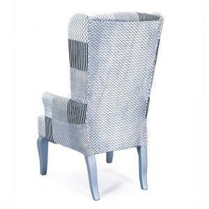 Hedon Wing Chair In Upholstered Fabric With Silver Wooden Legs_3