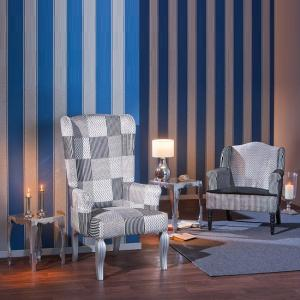 Hedon Wing Chair In Upholstered Fabric With Silver Wooden Legs_6