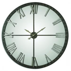 Ellie Wall Clock In Rustic Bronze With Mirrored Face
