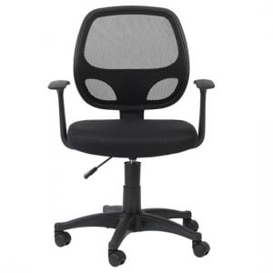 Davis Home & Office Chair In Black With Fabric Seat
