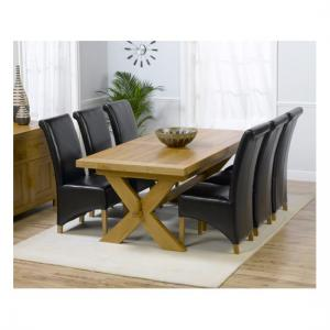 Carlotta Extending Solid Oak Dining Table And 6 Leather Chairs