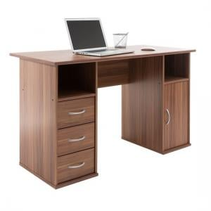 Tunisia Wooden Computer Table In Walnut Effect With 3 Drawers
