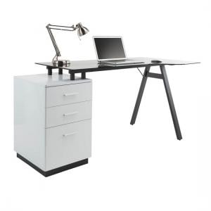 Cleveland Glass Computer Work Station With Grey Frame
