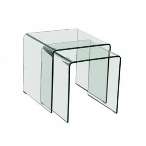 Azuria Clear Glass Set of 2 Nesting Tables