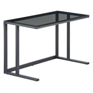Aswan Glass Computer Desk In Smoked With Black Metal Frame_3