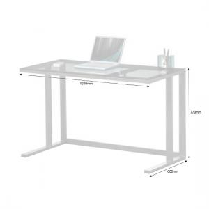 Aswan Glass Computer Desk In Smoked With Black Metal Frame_4