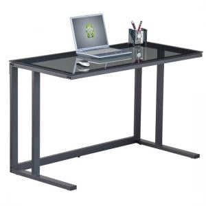 Aswan Glass Computer Desk In Smoked With Black Metal Frame