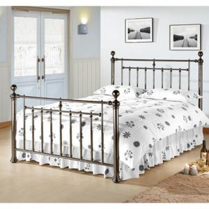 Alexander Black Nickel Metal King Size Bed With Nickel Finials