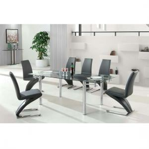 Alicia Extending Glass Dining Table With 6 Demi Chair In Grey
