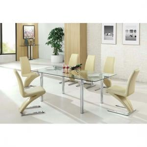 Alicia Extending Glass Dining Table With 6 Demi Chair In Cream