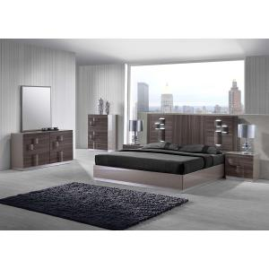 Swindon King Size Bed In Zebra Wood And Grey High Gloss With LED_2