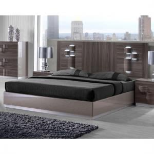 Swindon King Size Bed In Zebra Wood And Grey High Gloss With LED