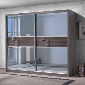 Swindon Sliding Wardrobe In Zebra Wood And Grey High Gloss