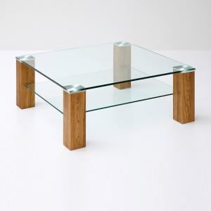 Conway Glass Coffee Table Square In Clear With Knotty Oak Legs