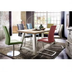 Alvaro Dining Table In Natural Oak With 6 Flores Dining Chairs