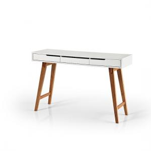 Anke Wooden Computer Table In White With Beech Legs