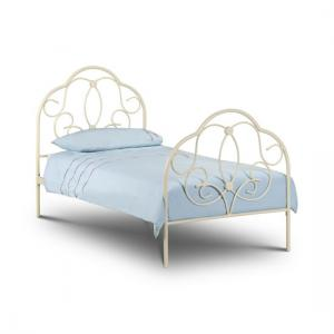 Arabel Metal Single Bed In Stone White Finish