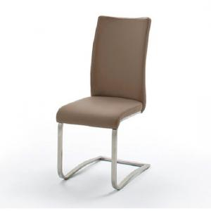 Arco Capuccino Pu Seat And Brushed Stainless Steel Dining Chair