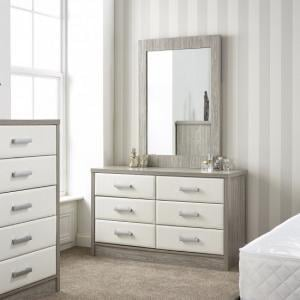 Triana Dressing Table With Mirror In Alpine White And Oak