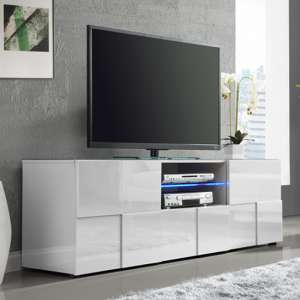 Aspen Modern TV Sideboard In White High Gloss With LED