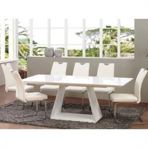 Astrik Extendable Dining Table In White High Gloss With 6 Chairs