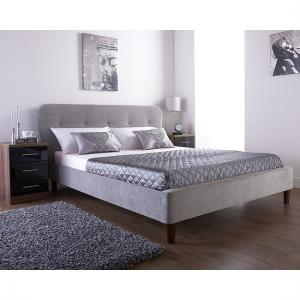 Ostrosky Chesterfield Style Bed In Silver Fabric