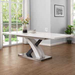 Axara Large Extendable Dining Table In White And Grey High Gloss