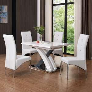 Axara Small Extendable White Grey Gloss Dining Table 4 Chairs